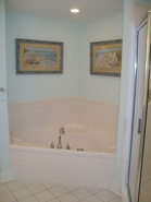Waterscape bathrooms offer garden tubs and separate shower
