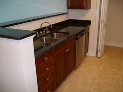 Waterscape with granite kitchen countertops
